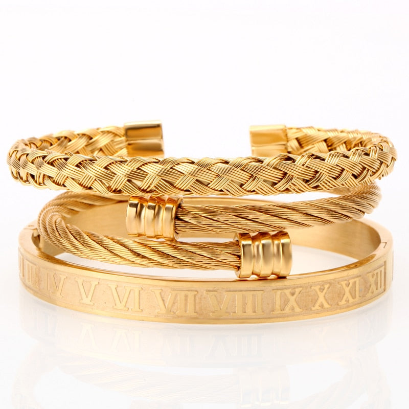 3pcs/set Luxury Gold/Silver 316L Stainless Steel Wristband Braiding Bangles Opening Cuff Bracelets Jewelry - MARI MAR SHOP
