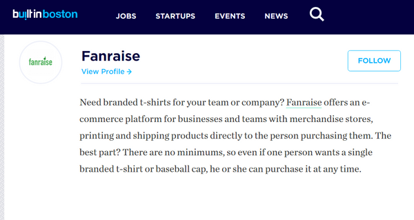 Fanraise Featured As Boston Ecommerce Startup Shaking Up The Space!