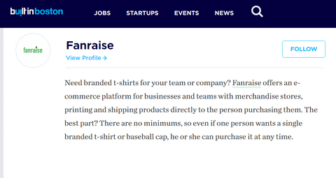 Built in Boston - Fanraise Top Ecommerce Startups