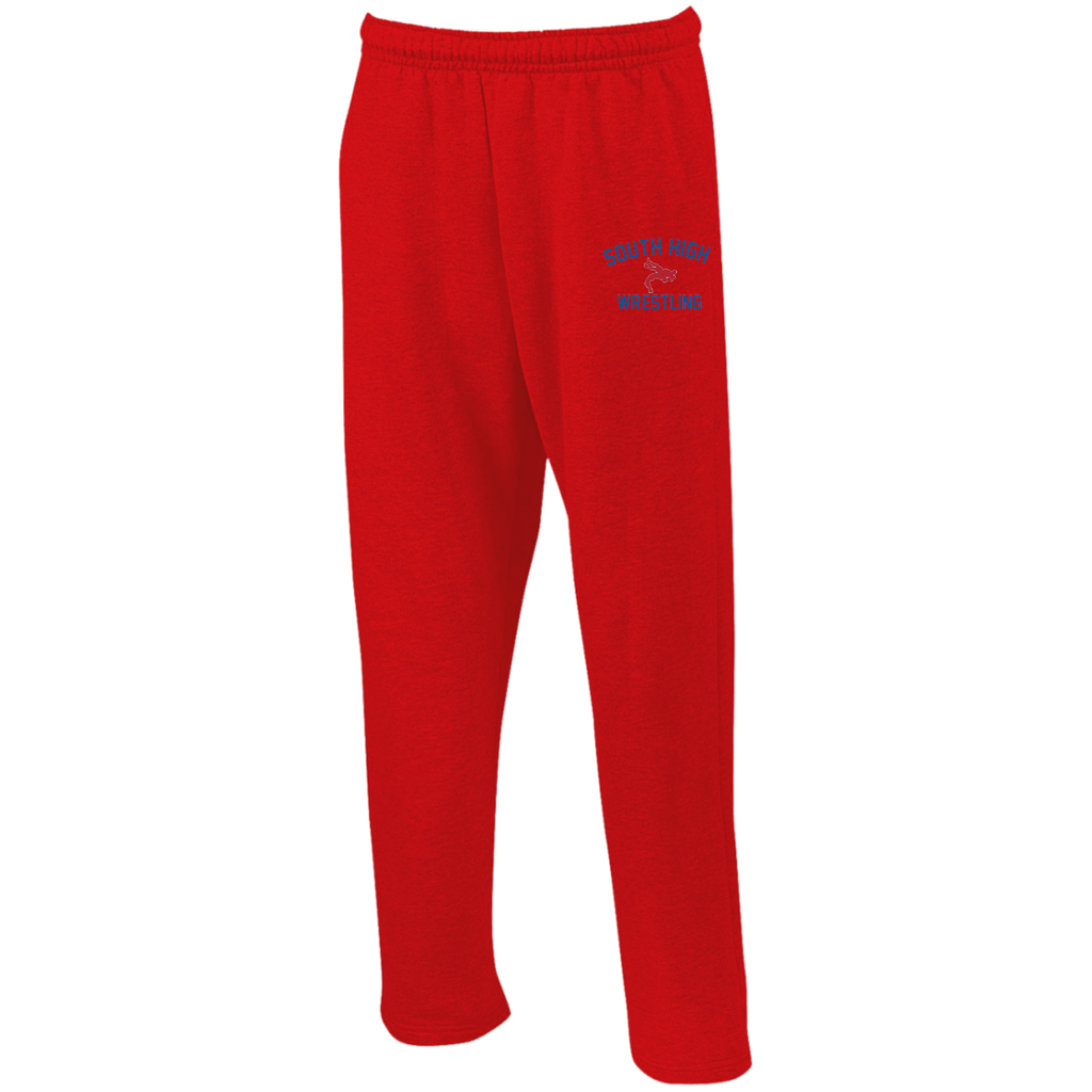 Wrestling Vector Logo v2 Outline_Pantone G123 Gildan Open Bottom Sweatpants with Pockets