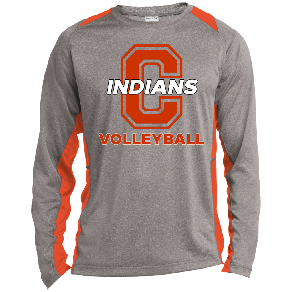 Heather Colorblock Long Sleeve T-Shirt - Cambridge Volleyball - C Logo