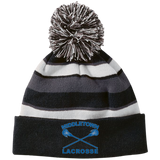 Striped Pom Pom Knit Winter Hat - Middletown Girls Lacrosse - Sticks Logo