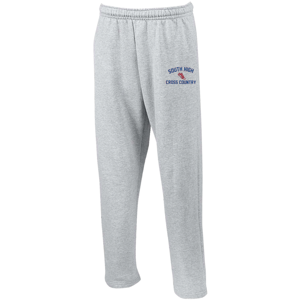 X-Country Vector Logo Outline_Pantone G123 Gildan Open Bottom Sweatpants with Pockets