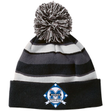 Striped Pom Pom Knit Winter Hat - Middletown Baseball - Diamond Logo