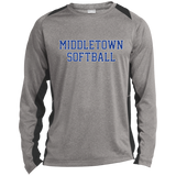 Heather Colorblock Long Sleeve T-Shirt - Middletown Softball - Block Logo