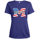 Women's Heather Moisture Wicking T-Shirt - Middletown American Flag