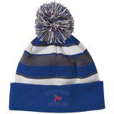 Striped Pom Pom Knit Winter Hat - South Glens Falls Wrestling