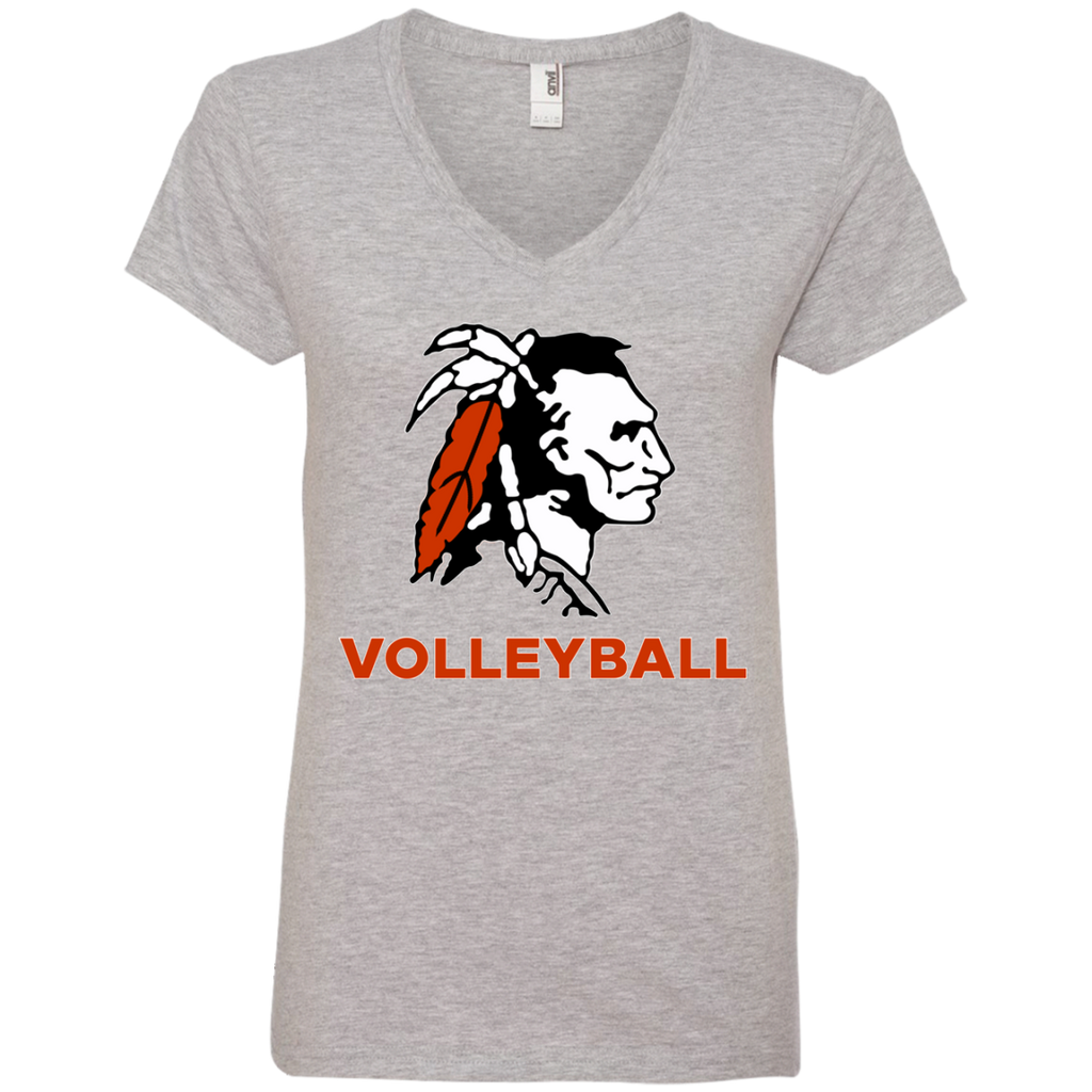 Women's V-Neck T-Shirt - Cambridge Volleyball - Indian Logo
