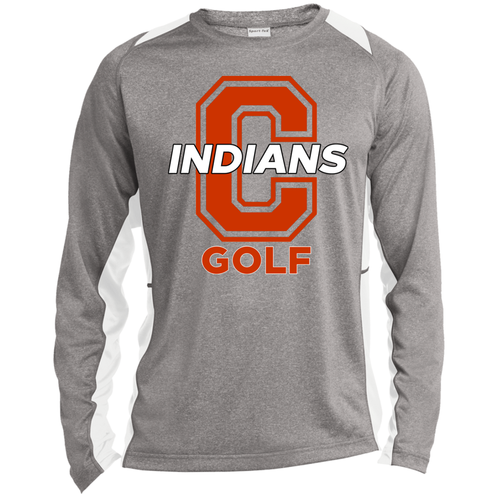 Heather Colorblock Long Sleeve T-Shirt - Cambridge Golf - C Logo