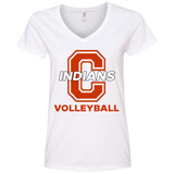 Women's V-Neck T-Shirt - Cambridge Volleyball - C Logo