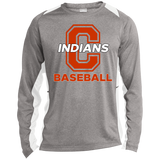 Heather Colorblock Long Sleeve T-Shirt - Cambridge Baseball - C Logo
