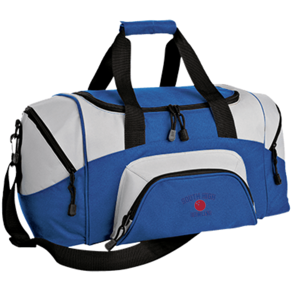 Bowling Vector Logo Outline_Pantone BG990S Port & Co. Small Colorblock Sport Duffel Bag