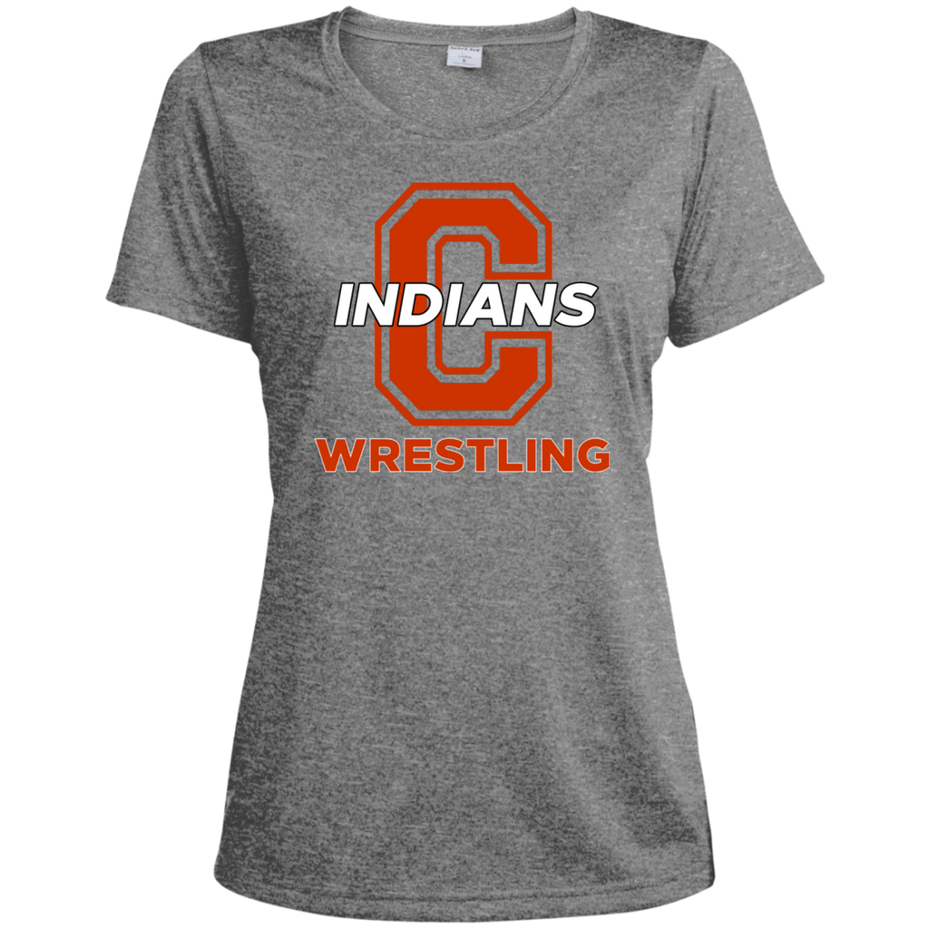 Women's Heather Moisture Wicking T-Shirt - Cambridge Wrestling - C Logo