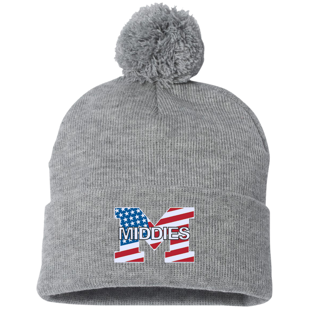Pom Pom Knit Winter Hat - Middletown American Flag
