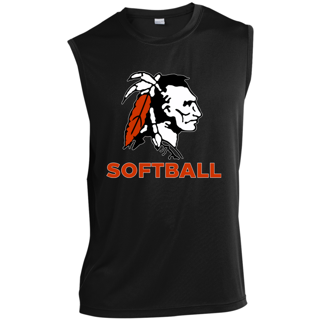 Sleeveless Performance T-Shirt - Cambridge Softball - Indian Logo