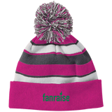Striped Pom Pom Knit Winter Hat - Fanraise Corporate - Full Logo