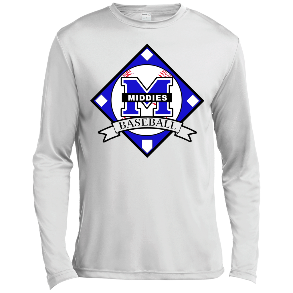 Men's Moisture Wicking Long Sleeve T-Shirt - Middletown Baseball - Diamond Logo