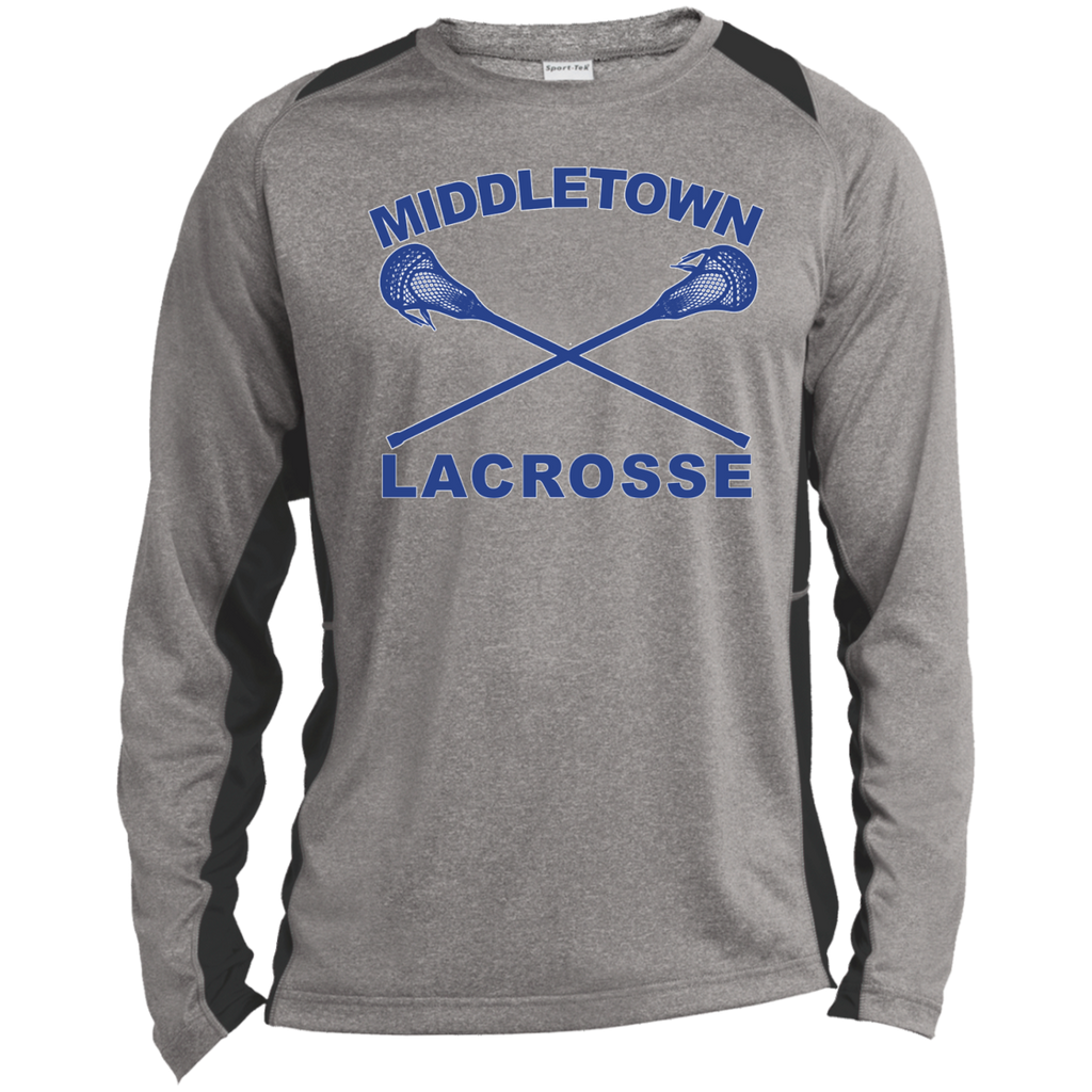 Heather Colorblock Long Sleeve T-Shirt - Middletown Girls Lacrosse - Sticks Logo