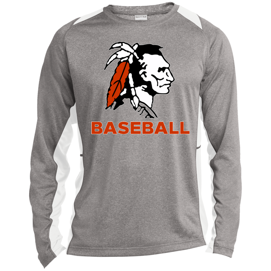 Heather Colorblock Long Sleeve T-Shirt - Cambridge Baseball - Indian Logo