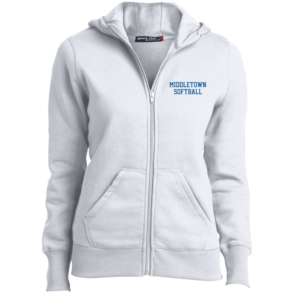 Women's Full-Zip Hooded Sweatshirt - Middletown Softball - Block Logo