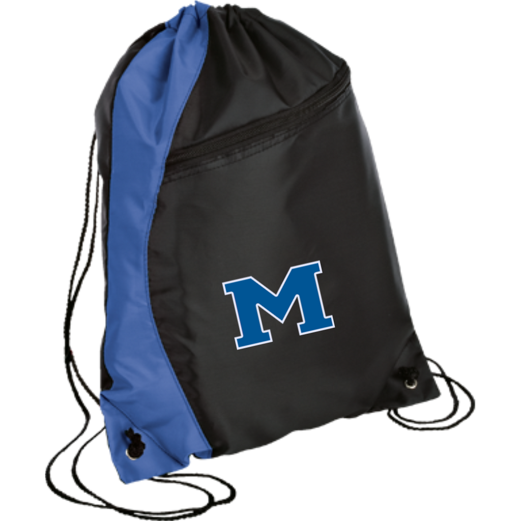 "Drawstring Bag with Zippered Pocket - Middletown Block ""M"""