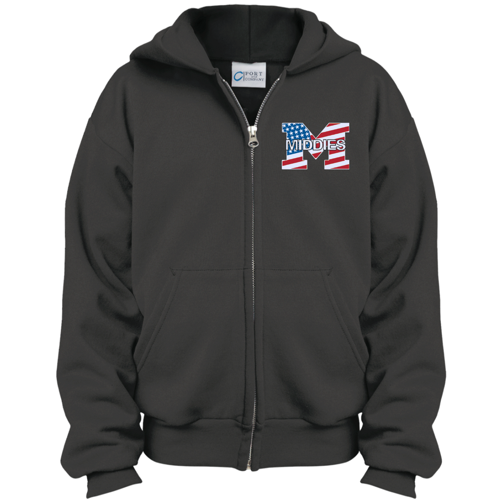 Youth Full-Zip Hooded Sweatshirt - Middletown American Flag