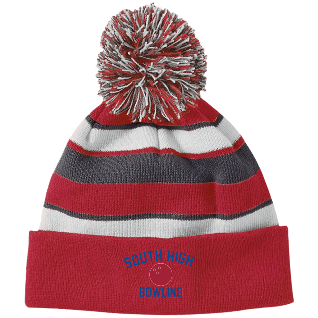 Bowling Vector Logo Outline_Pantone 223835 Holloway Striped Beanie with Pom