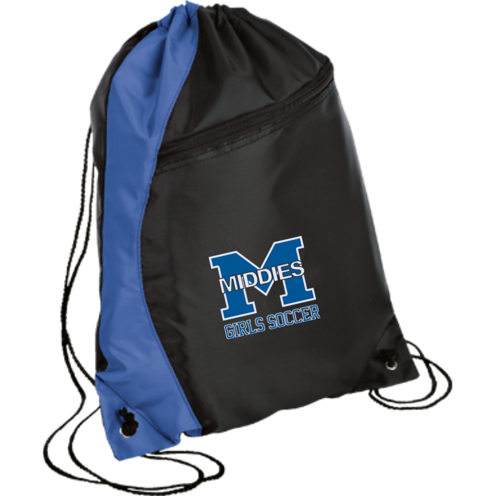 Drawstring Bag with Zippered Pocket - Middletown Middie Girls Soccer