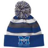 Striped Pom Pom Knit Winter Hat - Middletown Softball