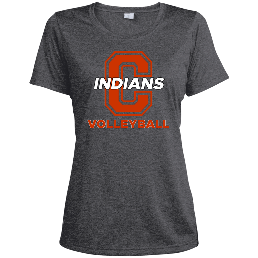Women's Heather Moisture Wicking T-Shirt - Cambridge Volleyball - C Logo