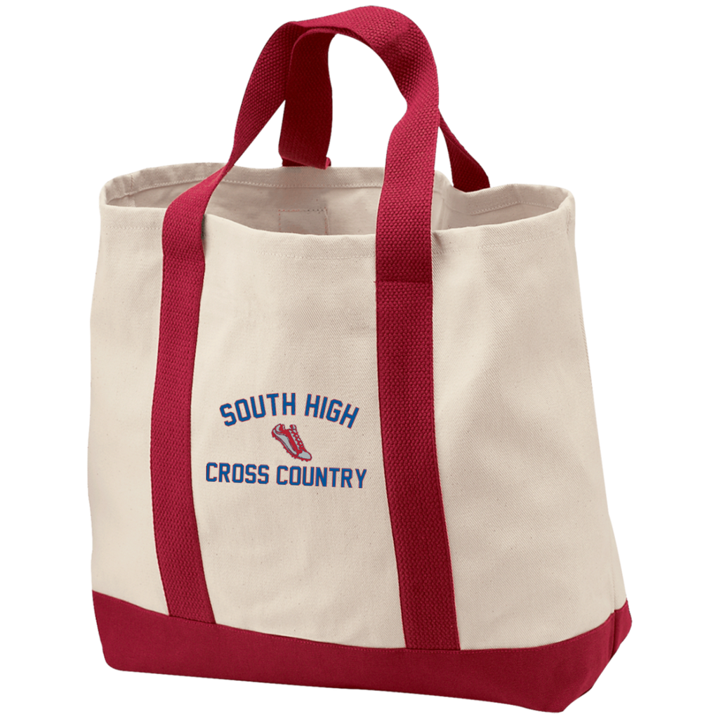 X-Country Vector Logo Outline_Pantone B400 Port & Co. 2-Tone Shopping Tote