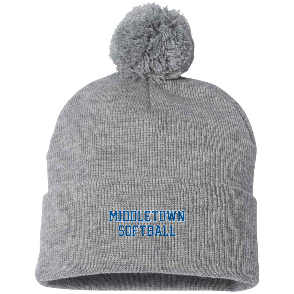Pom Pom Knit Winter Hat - Middletown Softball - Block Logo