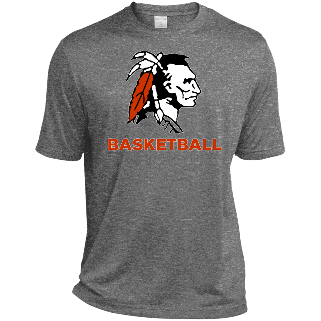 Men's Heather Moisture Wicking T-Shirt - Cambridge Basketball - Indian Logo