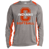 Heather Colorblock Long Sleeve T-Shirt - Cambridge Softball - C Logo