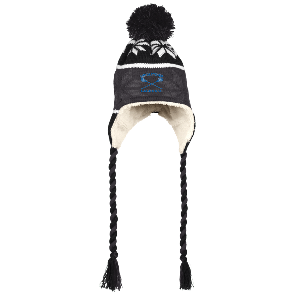 Winter Hat with Ear Flaps - Middletown Girls Lacrosse - Sticks Logo