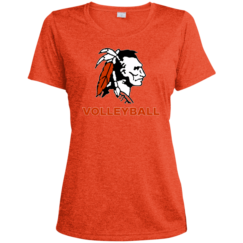 Women's Heather Moisture Wicking T-Shirt - Cambridge Volleyball - Indian Logo