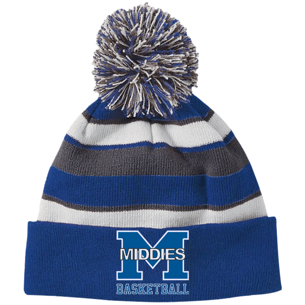 Striped Pom Pom Knit Winter Hat - Middletown Girls Basketball