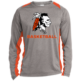 Heather Colorblock Long Sleeve T-Shirt - Cambridge Basketball - Indian Logo