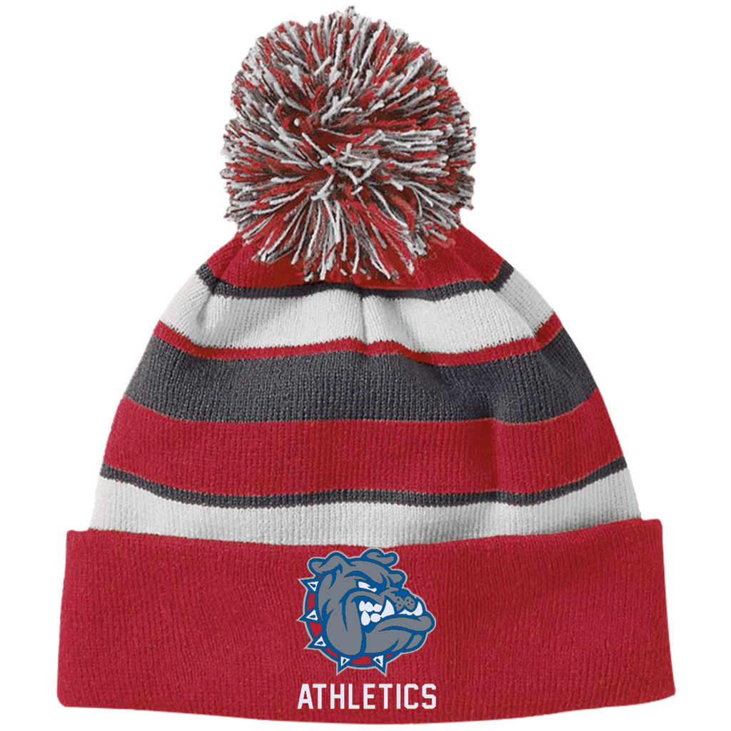 223835 Holloway Striped Beanie with Pom