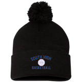 Basketball Vector Logo Outline_Pantone SP15 Sportsman Pom Pom Knit Cap