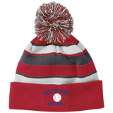 Striped Pom Pom Knit Winter Hat - South Glens Falls Softball