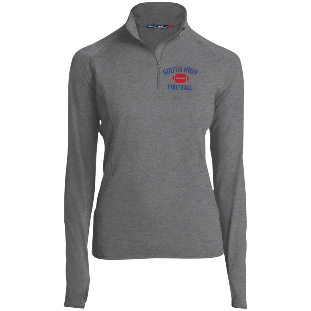 Football Vector Logo Outline_Pantone LST850 Sport-Tek Women's 1/2 Zip Performance Pullover