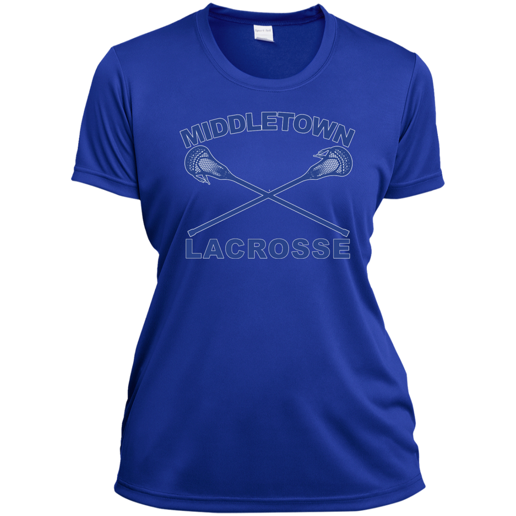 Women's Moisture Wicking T-Shirt - Middletown Girls Lacrosse - Sticks Logo