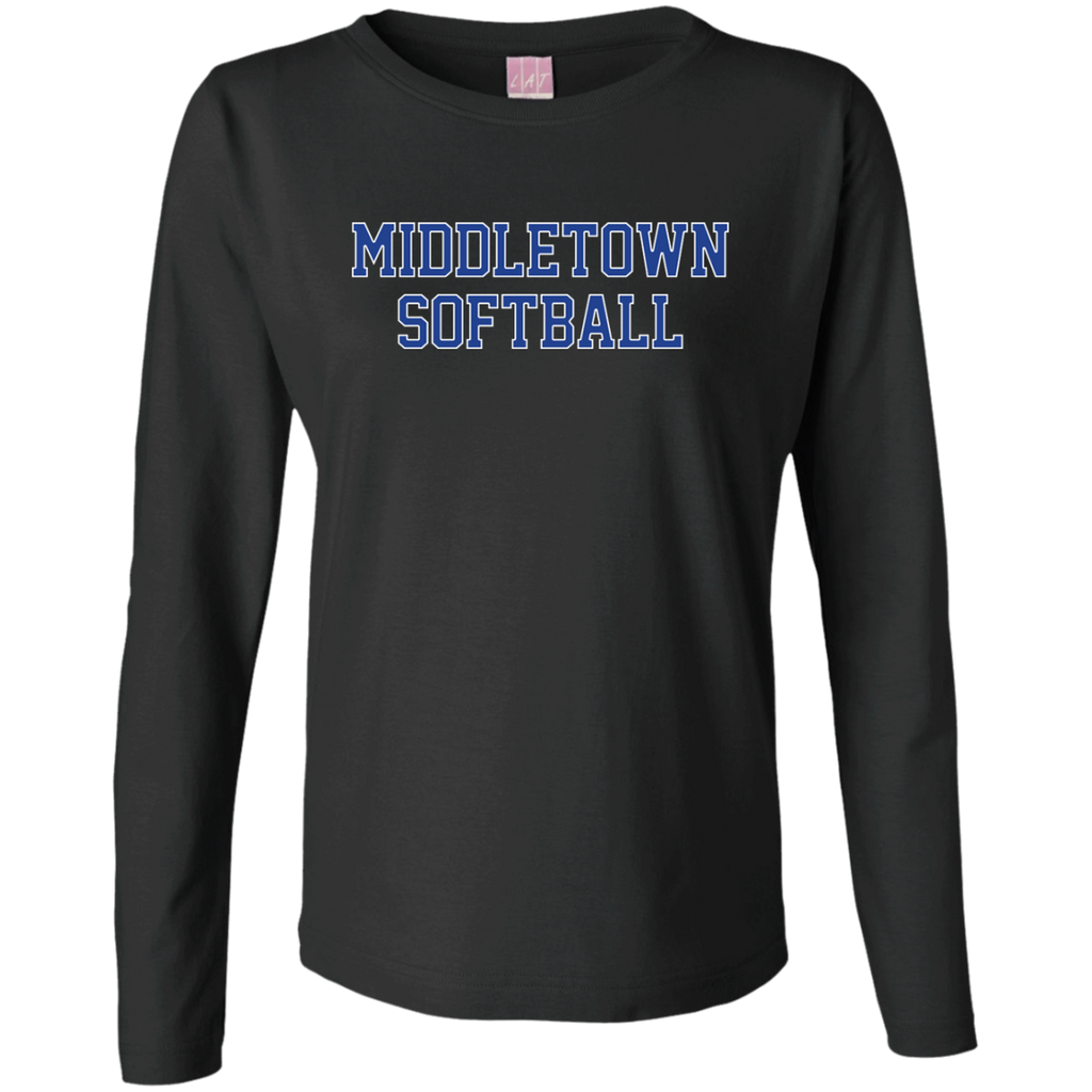 Women's Long Sleeve T-Shirt - Middletown Softball - Block Logo