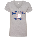 Women's V-Neck T-Shirt - South Glens Falls Softball
