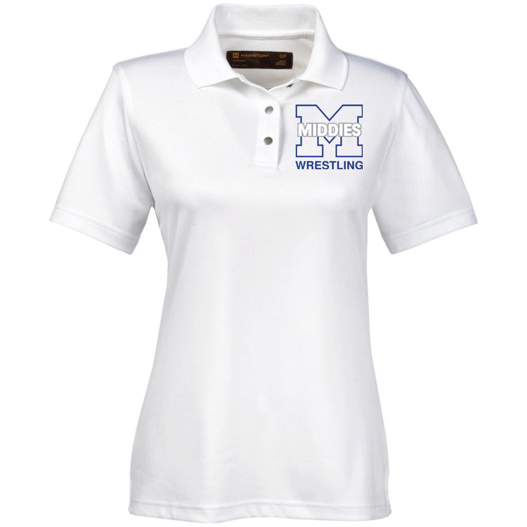 Wrestling_transparent_FOR PRINT FINAL M345W Harriton Ladies' Snap Placket Performance Polo
