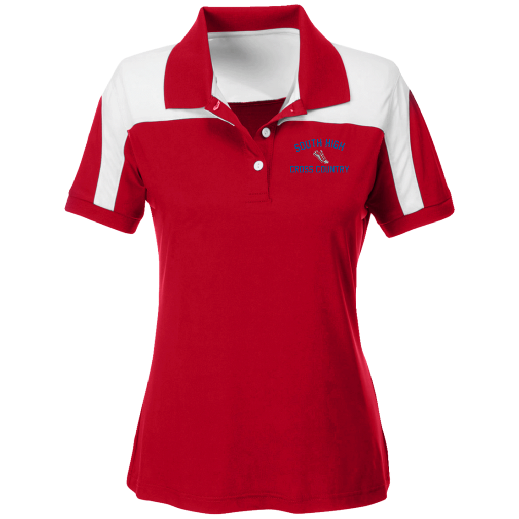 X-Country Vector Logo Outline_Pantone TT22W Team 365 Ladies' Colorblock Polo