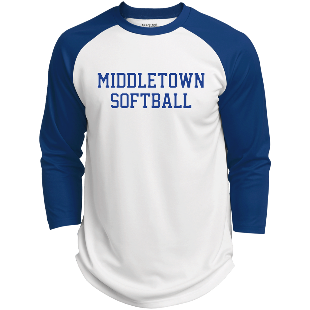 3/4 Sleeve Baseball T-Shirt - Middletown Softball - Block Logo