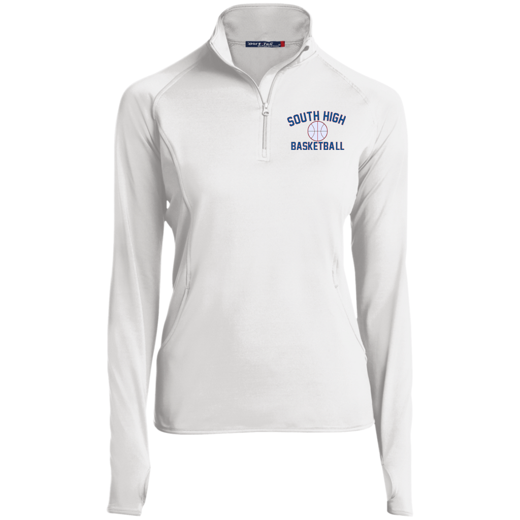 Basketball Vector Logo Outline_Pantone LST850 Sport-Tek Women's 1/2 Zip Performance Pullover