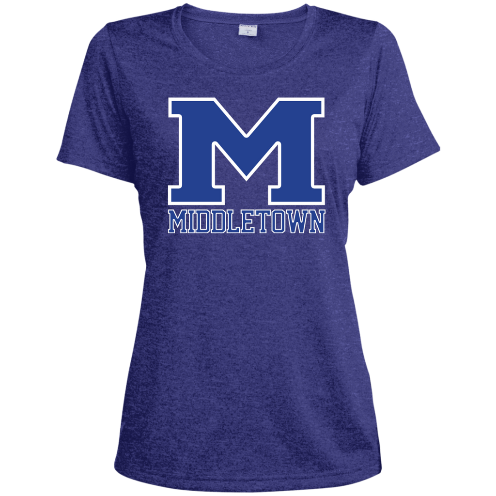 "Women's Heather Moisture Wicking T-Shirt - Middletown ""M"""